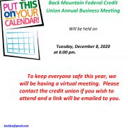 Back Mountain Federal Credit Union Annual Business Meeting